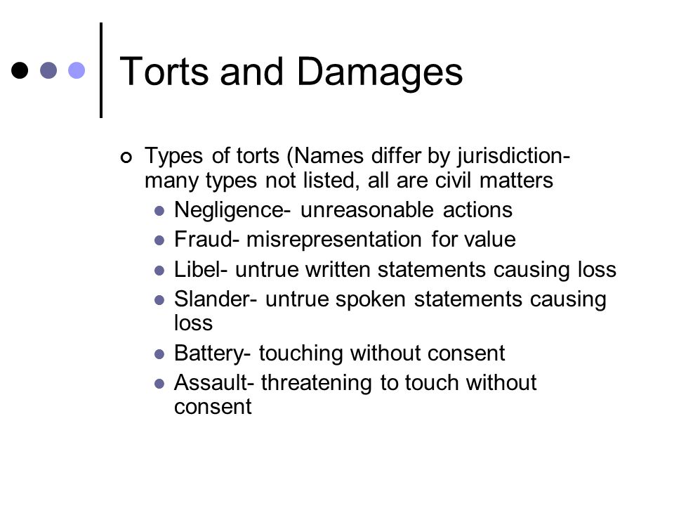 torts and damages A brief excerpt from quimbee's lecture video on compensatory and punitive damages in tort law watch more at   for just $1.
