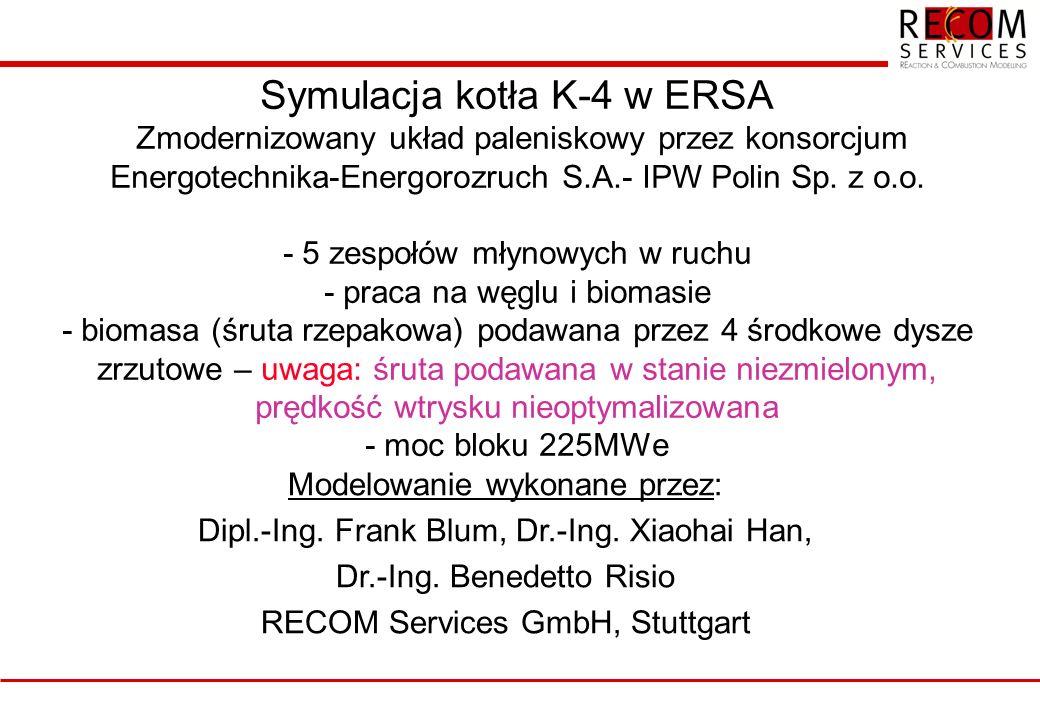 Symulacja kotła K-4 w ERSA Zmodernizowany układ paleniskowy przez konsorcjum Energotechnika-Energorozruch S.A.- IPW Polin Sp. z o.o. - 5 zespołów młynowych w ruchu - praca na węglu i biomasie - biomasa (śruta rzepakowa) podawana przez 4 środkowe dysze zrzutowe – uwaga: śruta podawana w stanie niezmielonym, prędkość wtrysku nieoptymalizowana - moc bloku 225MWe
