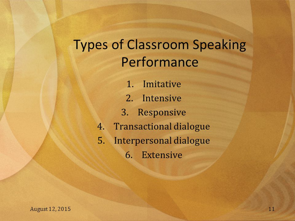 Types of Classroom Speaking Performance