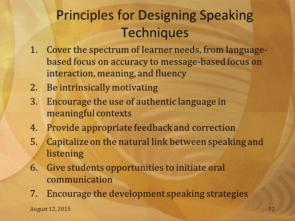 Principles for Designing Speaking Techniques