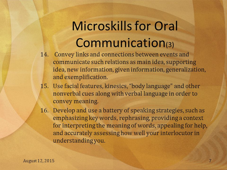 Microskills for Oral Communication(3)