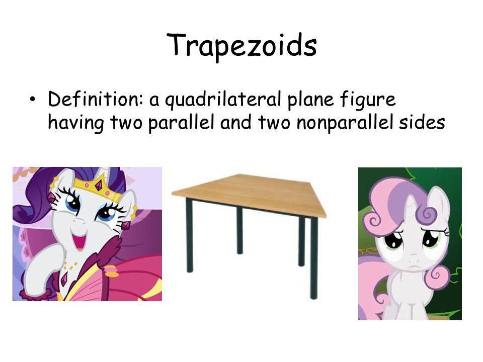 Trapezoids Definition: a quadrilateral plane figure having two parallel and two nonparallel sides