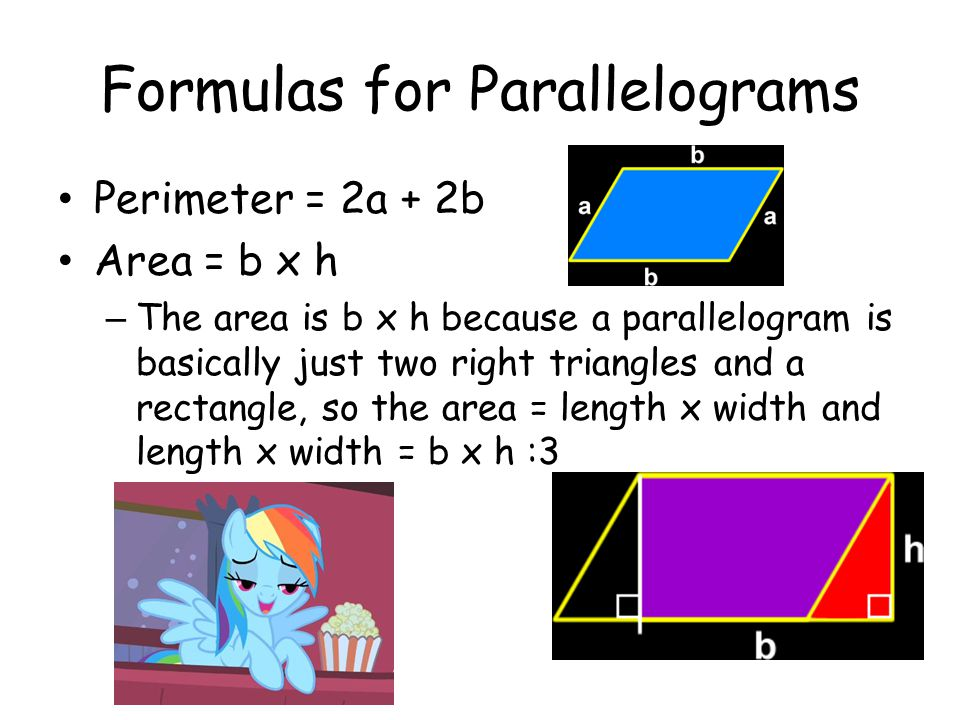 Formulas for Parallelograms