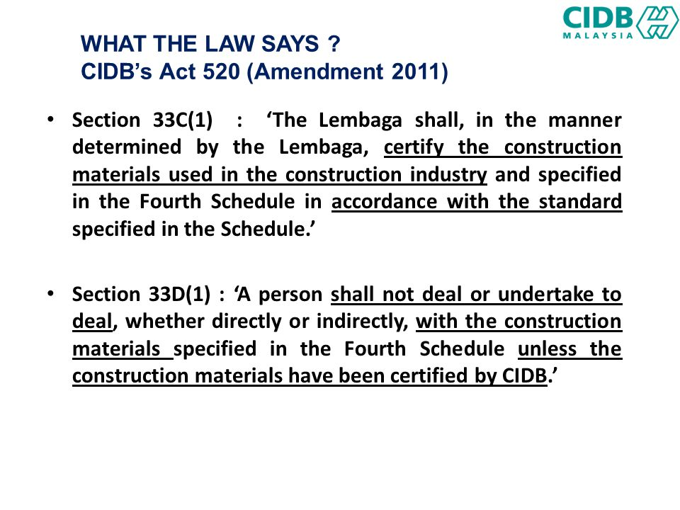 QUALITY PRODUCT ACCORDANCE CONSTRUCTION MATERIAL DIVISION, CIDB - ppt video online download