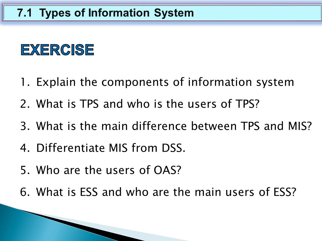 difference between tps and mis • mis is a information system which process data and convert it into information mis uses tps for its data input information data input processing data output tps data characteristics • in any organization managers will have varieties of tasks to manage mis is mainly designed to take care of the needs of the managers in the organization.