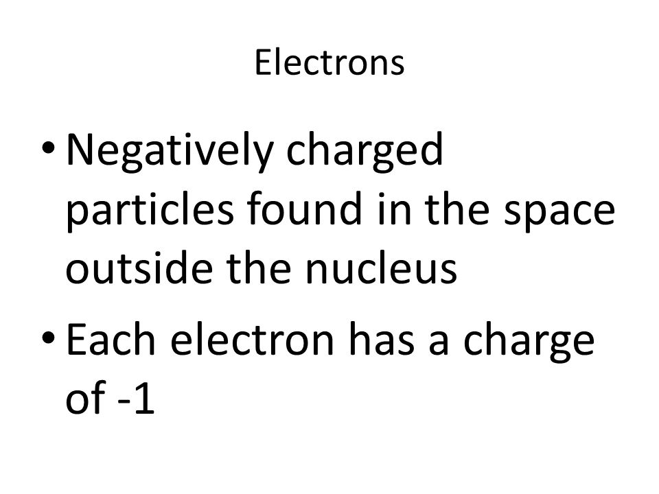 Negatively charged particles found in the space outside the nucleus