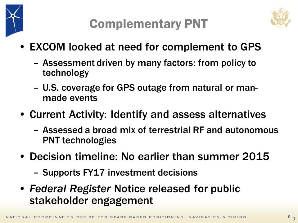 Complementary PNT EXCOM looked at need for complement to GPS