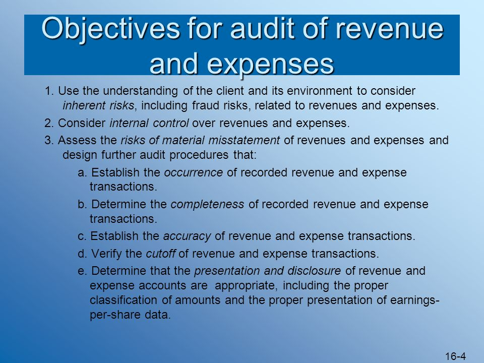 auditing revenue and expense forecast Corsig has a reportable segment if that segment's revenue exceeds  with generally accepted auditing  between a financial forecast and a.