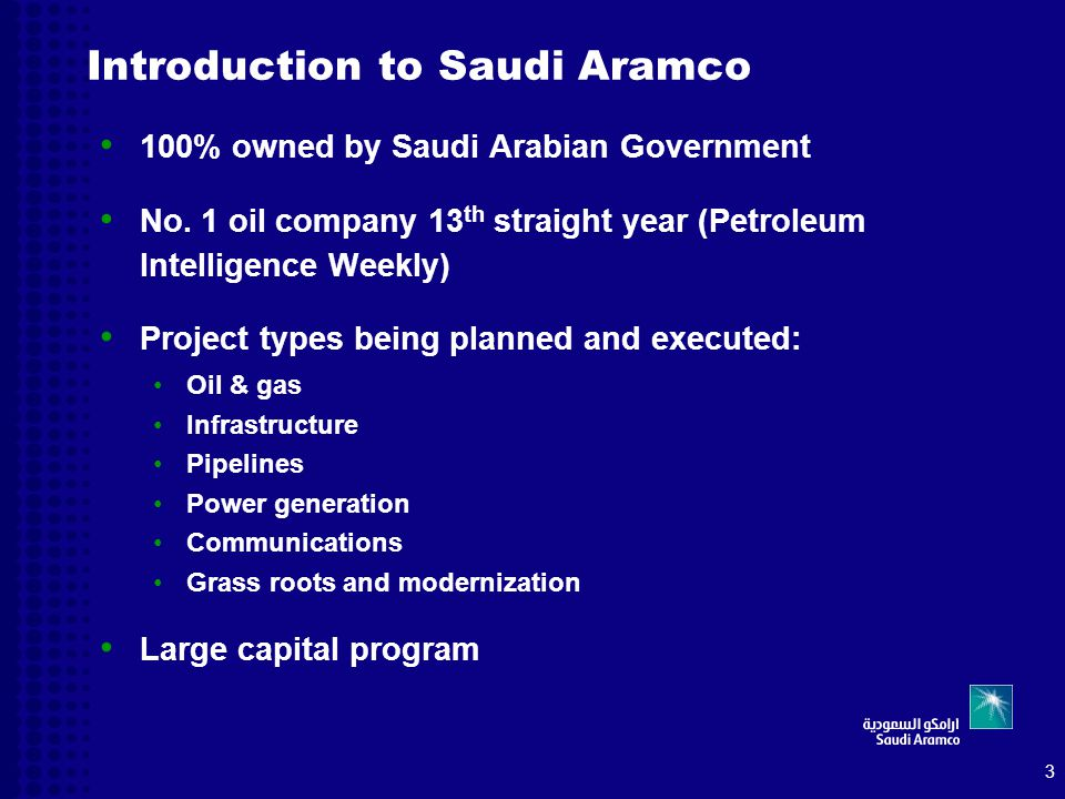 aramco company introduction Energy provider saudi aramco is striving to become  and a direct result of the company's desire to bring  it facilitates introduction of lessons.