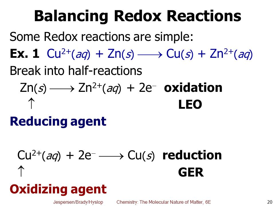 Balancing oxidation reduction reactions online dating 9