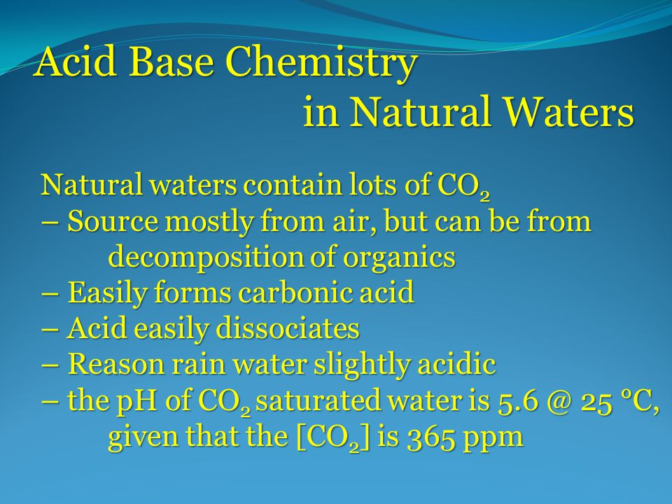 The Chemistry Of Natural Water