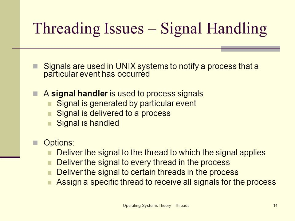Threading Issues – Signal Handling