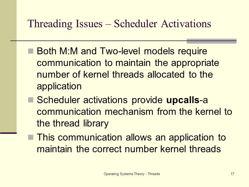 Threading Issues – Scheduler Activations