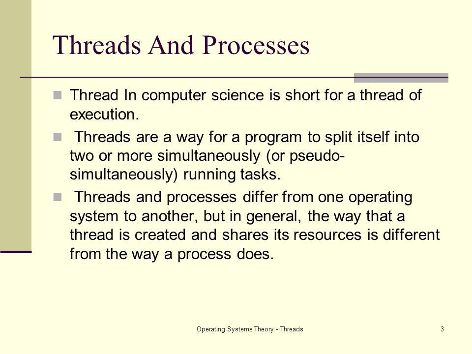 Operating Systems Theory - Threads