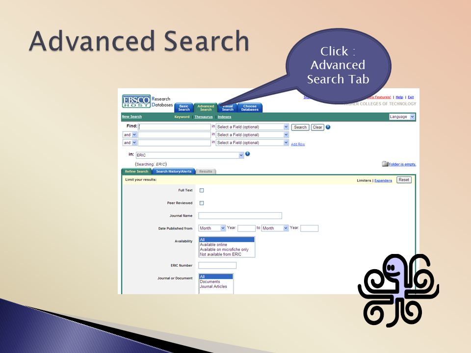 Click : Advanced Search Tab