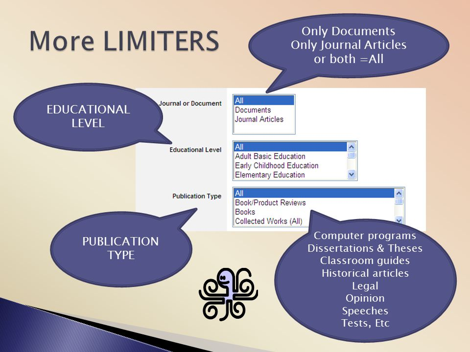 More LIMITERS Only Documents Only Journal Articles or both =All
