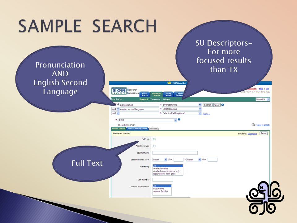 SAMPLE SEARCH SU Descriptors- For more focused results than TX