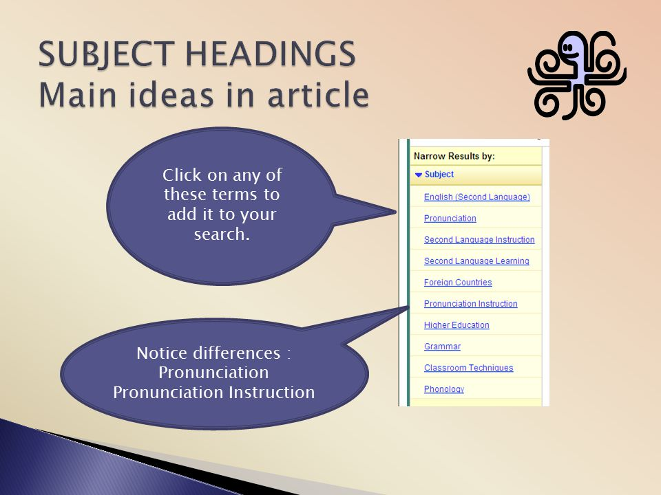 SUBJECT HEADINGS Main ideas in article