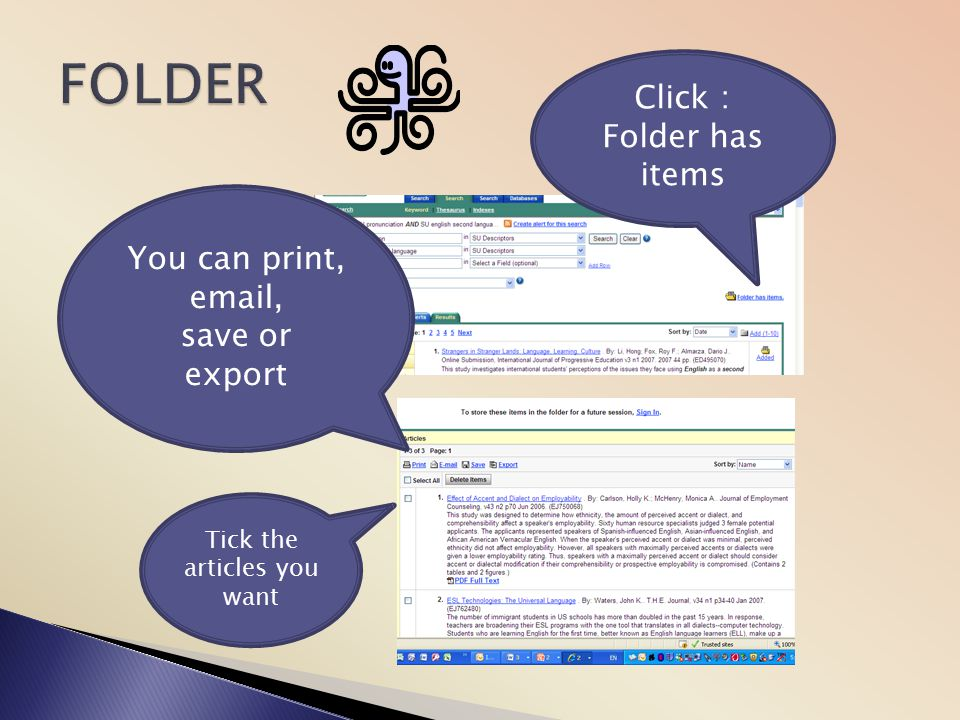 FOLDER Click : Folder has items You can print,  , save or export