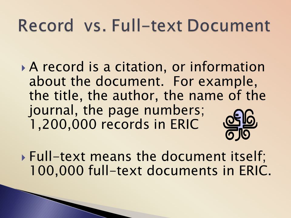 Record vs. Full-text Document