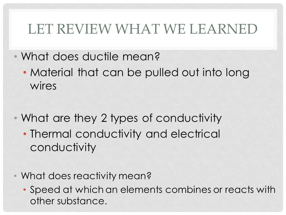 Let review what we learned