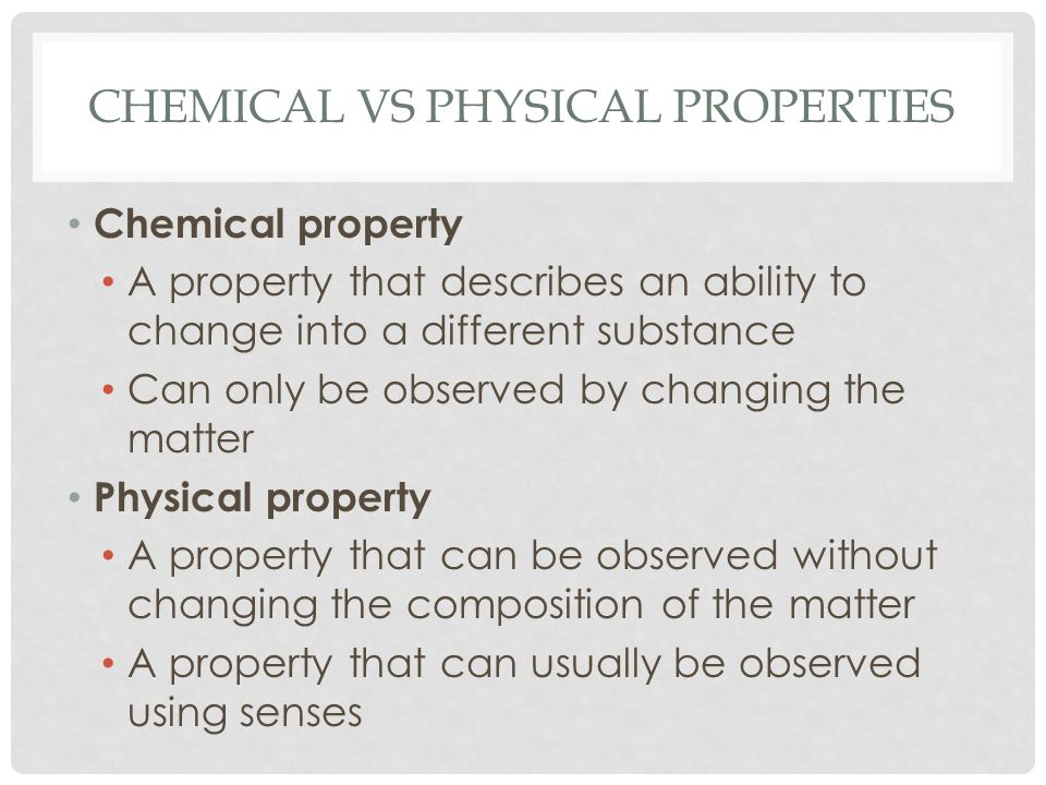 Chemical vs physical properties