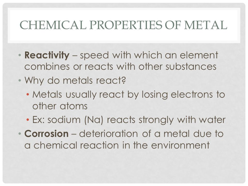 Chemical Properties of metal