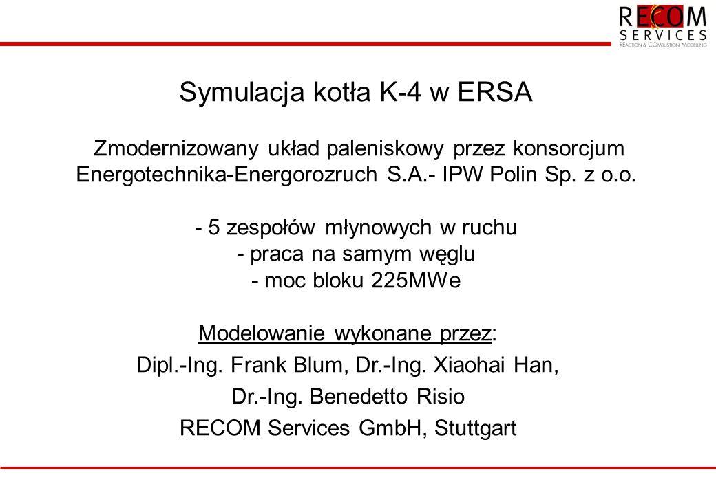 Symulacja kotła K-4 w ERSA Zmodernizowany układ paleniskowy przez konsorcjum Energotechnika-Energorozruch S.A.- IPW Polin Sp. z o.o. - 5 zespołów młynowych w ruchu - praca na samym węglu - moc bloku 225MWe