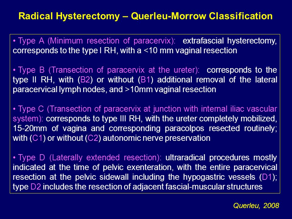Radical Hysterectomy – Querleu-Morrow Classification