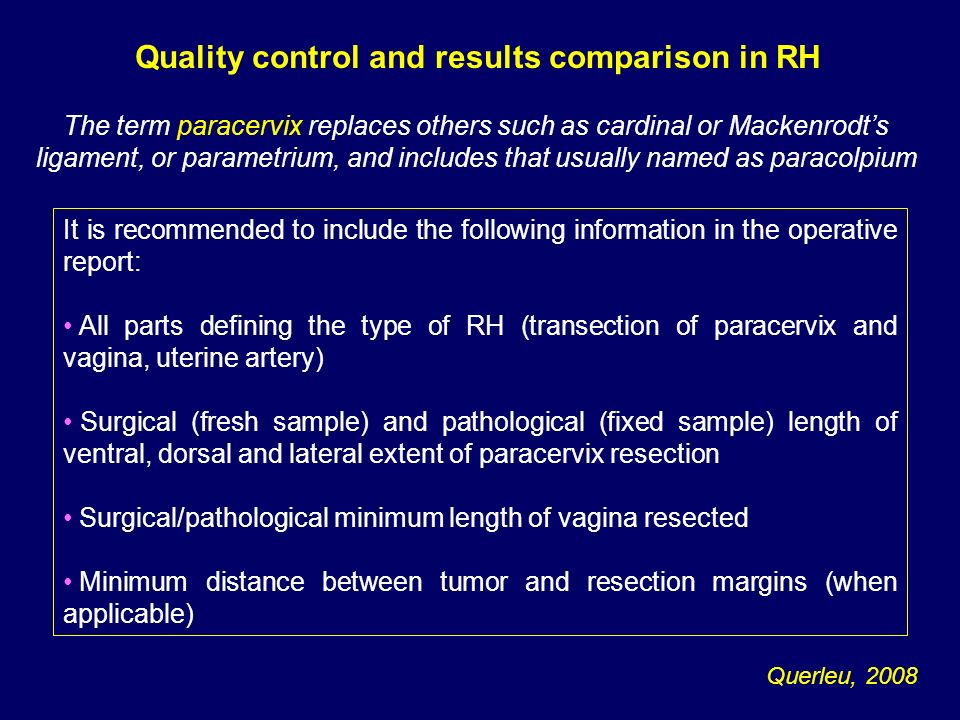 Quality control and results comparison in RH