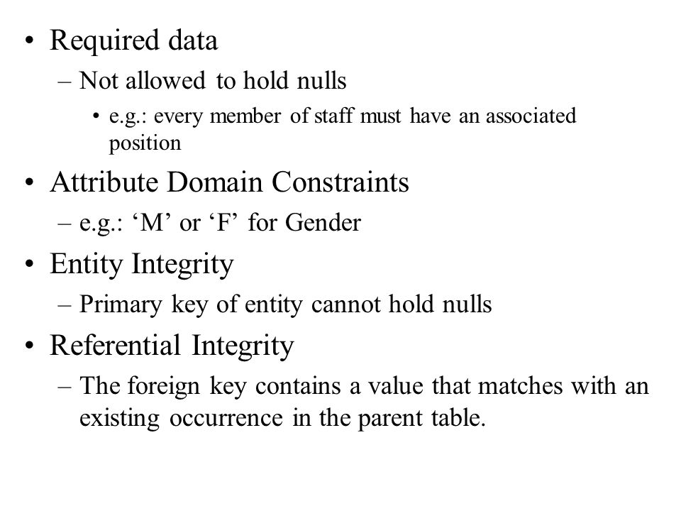 Attribute Domain Constraints Entity Integrity Referential Integrity