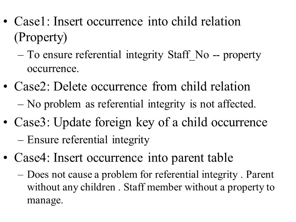 Case1: Insert occurrence into child relation (Property)