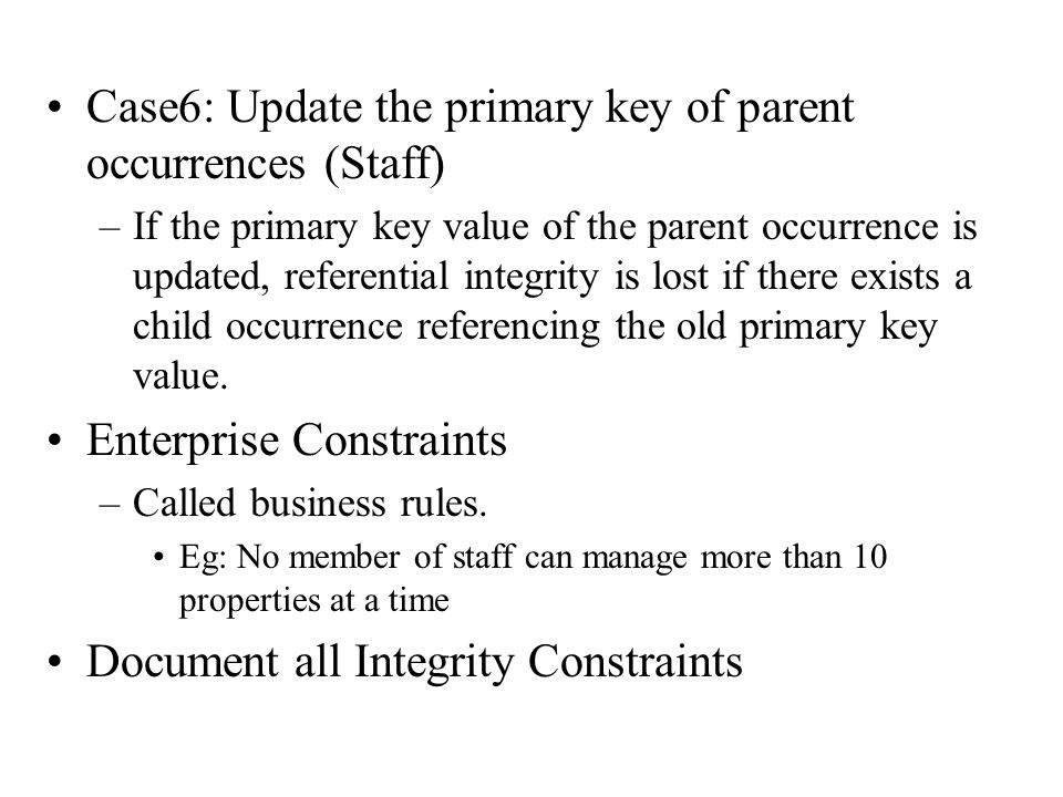Case6: Update the primary key of parent occurrences (Staff)