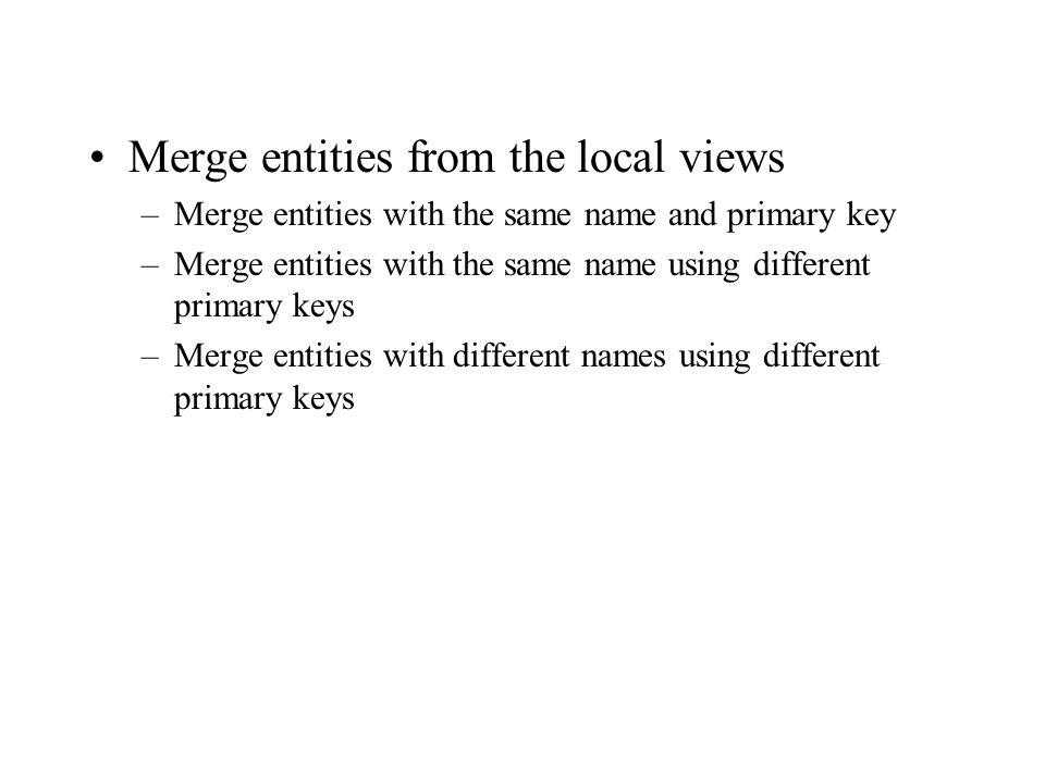 Merge entities from the local views