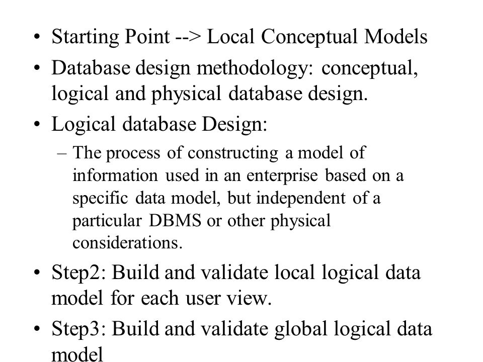 Starting Point --> Local Conceptual Models