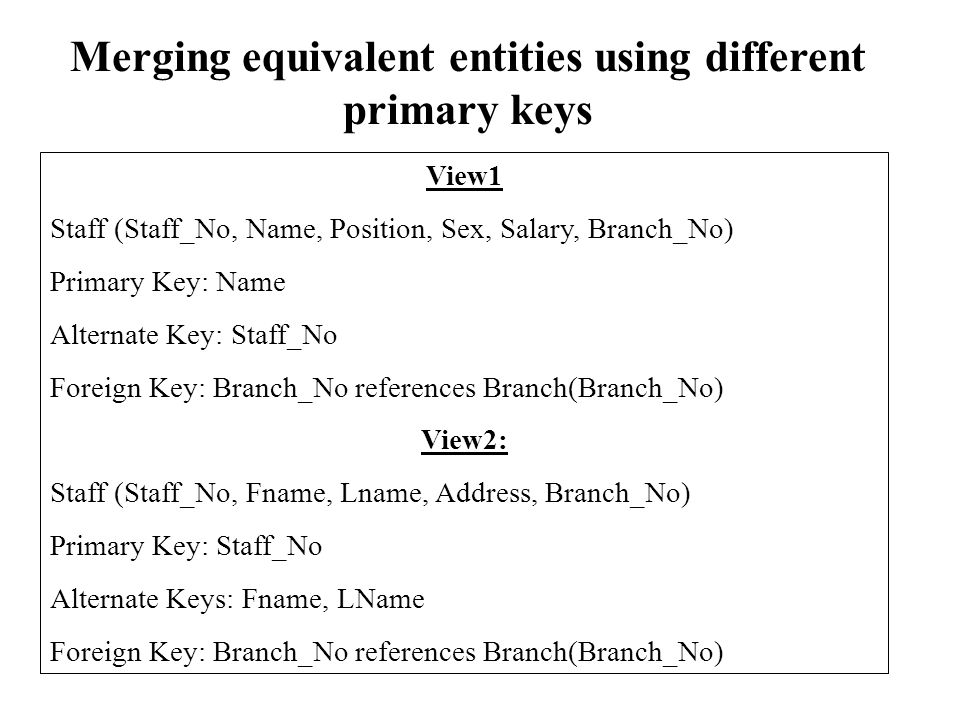 Merging equivalent entities using different primary keys