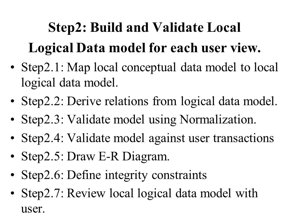 Step2: Build and Validate Local Logical Data model for each user view.