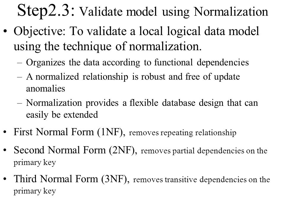 Step2.3: Validate model using Normalization