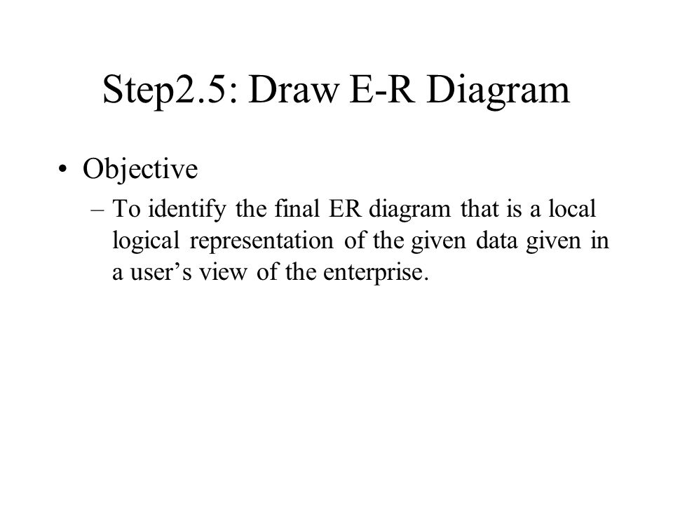 Step2.5: Draw E-R Diagram Objective