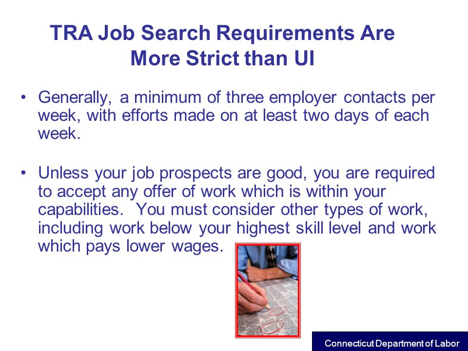 TRA Job Search Requirements Are More Strict than UI