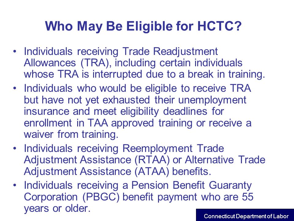 Who May Be Eligible for HCTC