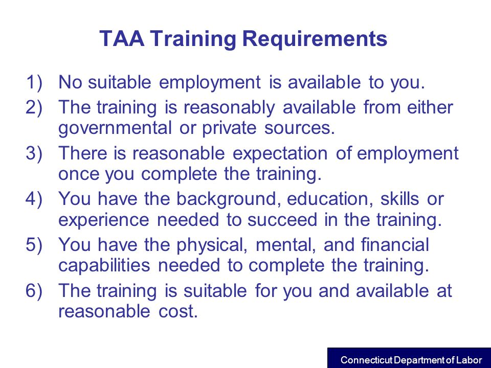TAA Training Requirements