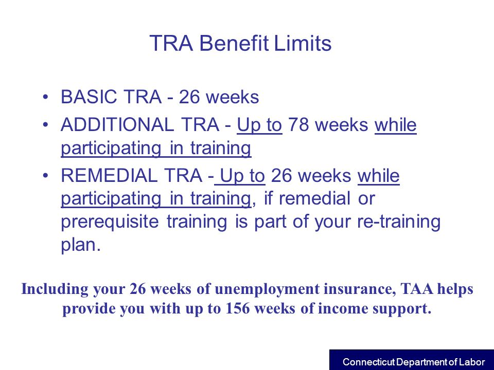 TRA Benefit Limits BASIC TRA - 26 weeks