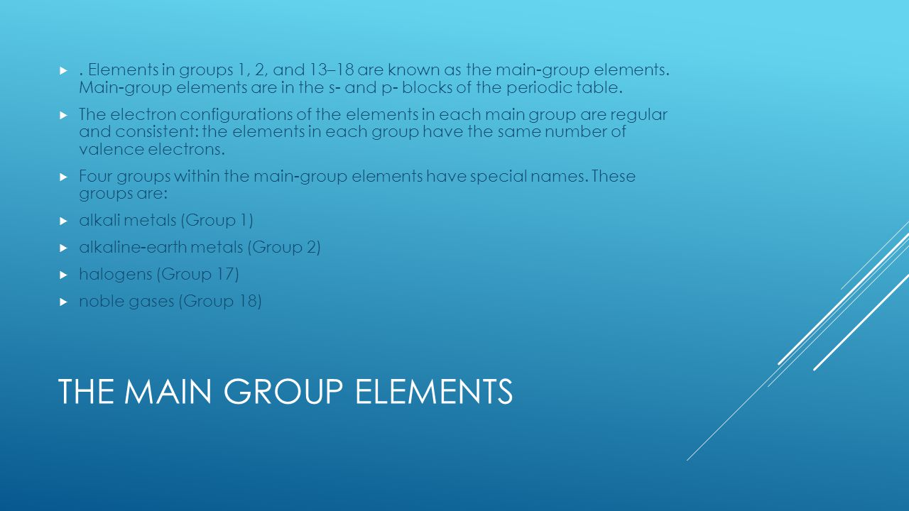 History of the periodic table and periodic trends ppt video the main group elements gamestrikefo Gallery