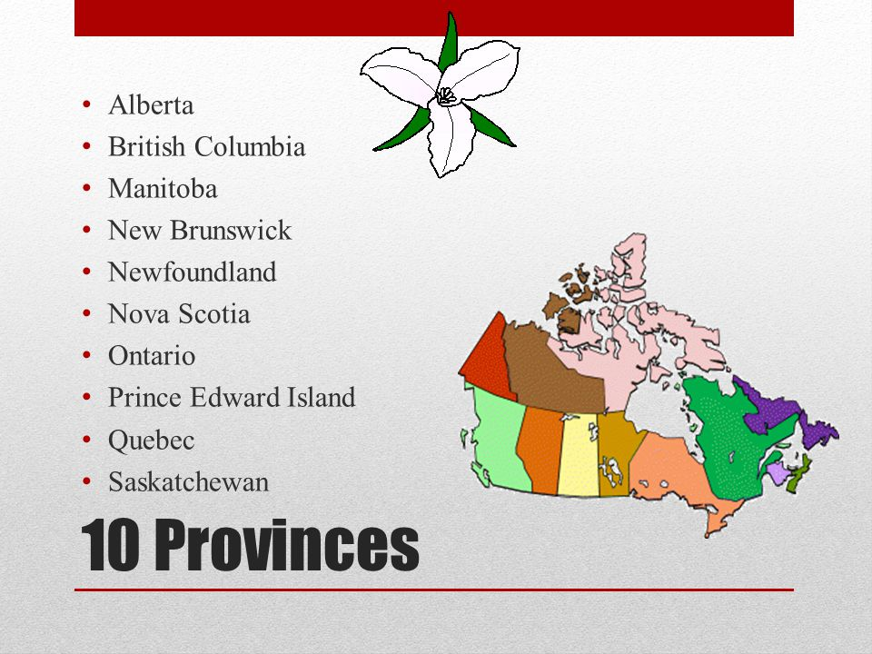 10 Provinces Alberta British Columbia Manitoba New Brunswick