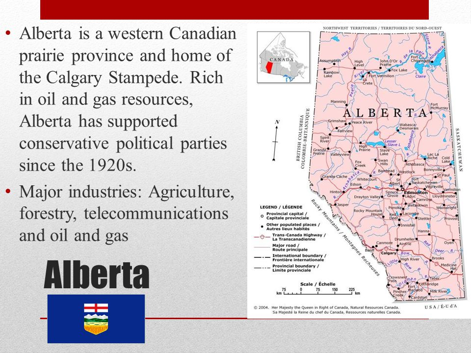 Alberta is a western Canadian prairie province and home of the Calgary Stampede. Rich in oil and gas resources, Alberta has supported conservative political parties since the 1920s.