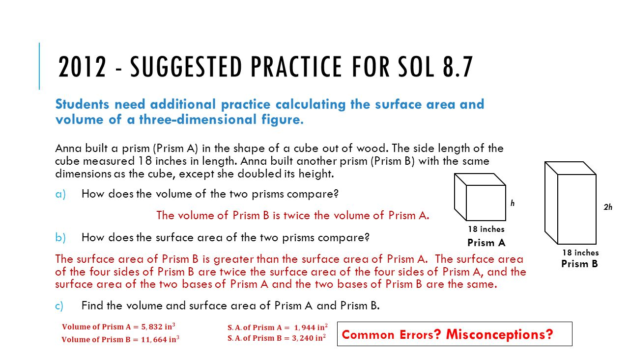 27 2012 Suggested Practice For Sol 87 Students Need Additional Practice  Calculating The Surface Area 4 Print How To Find Surface