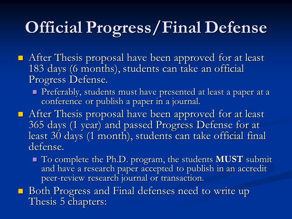 thesis proposal defense presentation Defense and approval of the dissertation proposal the proposal defense serves as an opportunity brief and succinct presentation and leadership 208.
