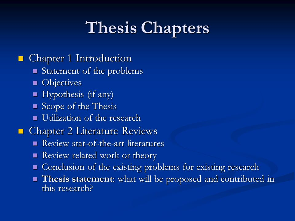 Sections of a thesis