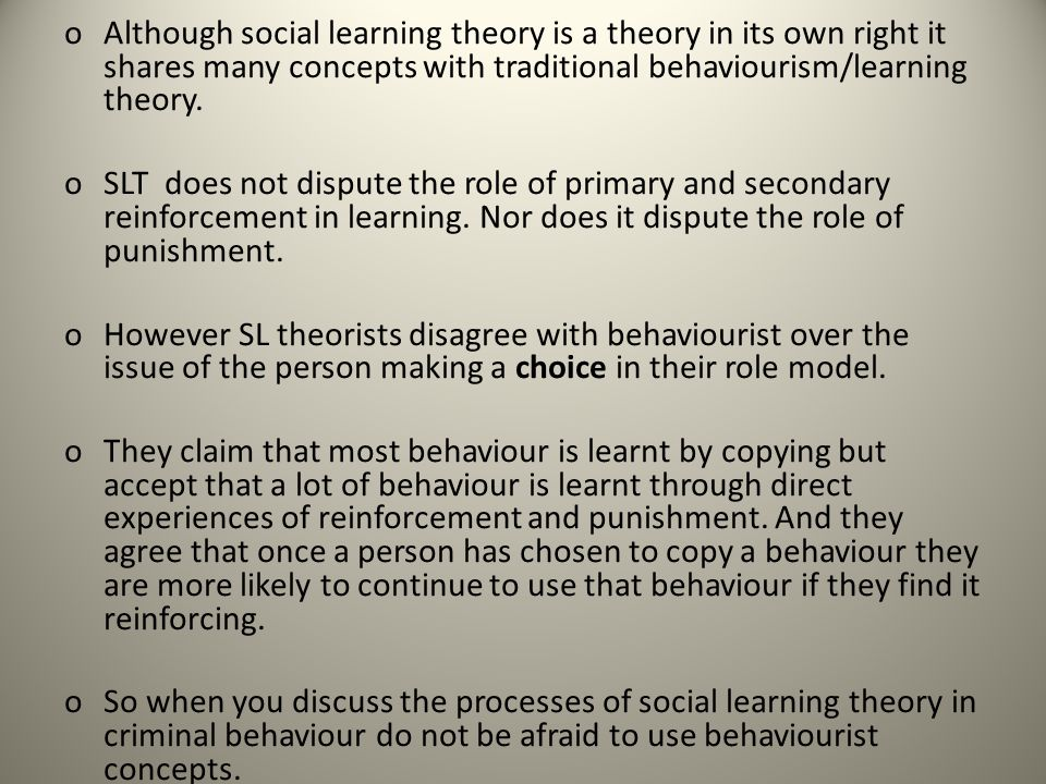 social learning theorys major concepts The social learning theory, a system of learning most commonly associated with  behaviorist albert bandura, is most commonly applied in educational settings.